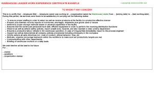 work experience certificates   warehouse leader