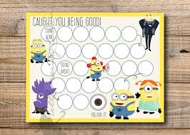 kids reward chart minions reward chart printable instant 128270zoom