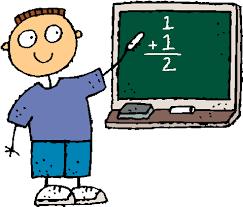 Boy presenting 1 + 1 on the chalkboard