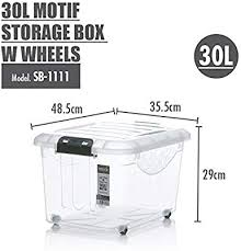 HOUZE Motif <b>Storage Box</b> with Wheels, <b>30L</b>, (SB-1111-<b>CLEAR</b> ...