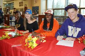 North Star   Seniors commit to participate in college athletic     Samantha Stewart  with parents Terri and Michael  on early Letter of Intent Signing Day