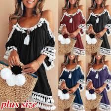 5 Colors Plus Size Women Off Shoulder Lace Tassel Dress ... - Vova