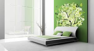 colours for a bedroom: green and white wall colours for walls and flowering designs with white floor bed on the