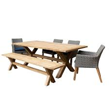 Patio Plus Indo <b>6</b>-<b>Piece</b> Rectangular <b>Dining Set</b> with <b>Dining Chairs</b> ...