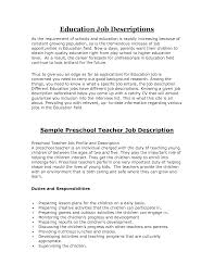 teacher job description resume perfect resume  resume
