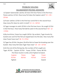 math problems for children 1st grade salamander fishing · salamander fishing answers
