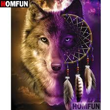 "<b>HOMFUN 5D DIY Diamond</b> Painting Full Square/Round Drill ""Wolf ..."