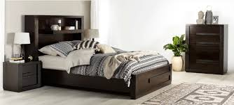 bedroom furniture contractstudentbedroomfurniture: java modern dark wooden bedroom furniture suite with built in shelving and black white and beige patterned linen and decor bedroom inspiration