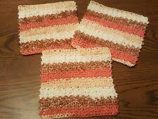 Set Of 3 <b>Thick Textured 100</b>% Cotton <b>Hand</b> Crocheted Multi-Color ...
