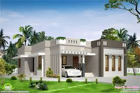 Flat Roof House Plans Designs  single floor flat roof house    Single Storey House Design
