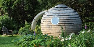 its hobbit like on the outside but a blank canvas on the inside backyard office pod 4