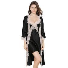 <b>Sexy V neck</b> Long Silk Nightgown And Robe Set With Lace ...