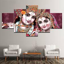 Pictures Modular Poster <b>HD Printing 5</b> Pieces India God Radha ...