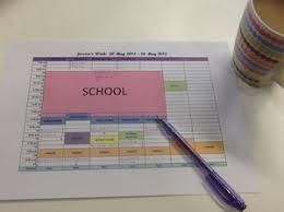 weekly schedule template   school a to zprinted schedule