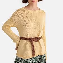 <b>Пуловер</b> с <b>круглым</b> вырезом из плотного трикотажа желтый <b>La</b> ...