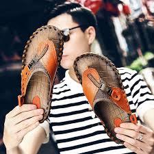 JICHI Luxury Brand 2019 New <b>Men's Flip Flops Genuine Leather</b> ...