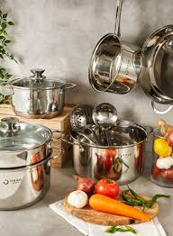 Shop noon east 18-Piece <b>High Quality Stainless Steel</b> Cookware ...