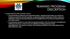 training program plan jovan petkovic aet phyllis carbonaro training program description unarmed security guard course the intended audience is the general public seeking