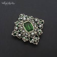 Green beaded brooch - Handmade <b>Seed bead</b> brooch - Pinterest
