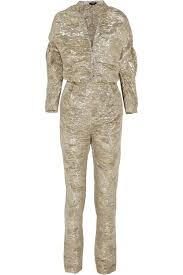 Gold Textured silk-blend lamé jumpsuit | <b>Pedro del Hierro</b> Madrid ...