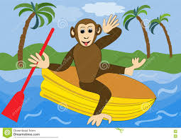 Funny <b>Monkey</b> Floats On Yellow <b>Inflatable</b> Rubber Dinghy With Red ...