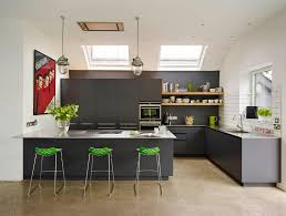 gray kitchen red accents