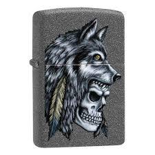 <b>Зажигалка ZIPPO Wolf Skull</b> с покрытием Iron Stone™, серая ...