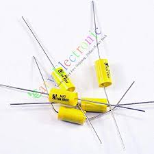 Cary <b>10pcs</b> Yellow Long Lead Axial <b>Polyester Film Capacitor</b> 0.1uf ...