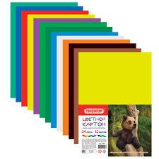 <b>Картон цветной</b> А4 немелованный (матовый), 24 листов 12 ...