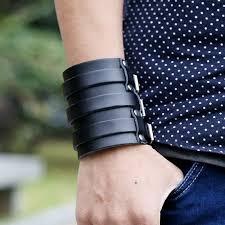 New Fashion Men Retro <b>Vintage Genuine Leather</b> Buckle Punk Cuff ...