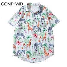 GONTHWID <b>Zebra</b> Giraffe <b>Flowers</b> Print <b>Hawaiian</b> Aloha Shirts ...