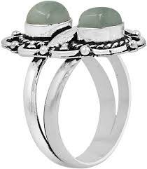 <b>Natural Moonstone</b> Lapis Labradorite Two Stone Ring 925 Silver ...