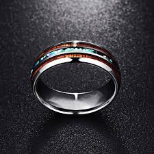 Rings Abalone Carbide Retro <b>Jewelry Fashion Tungsten</b> Wood Men ...