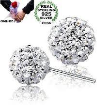<b>OMHXZJ wholesale Fashion</b> AAA zircon ball sterling 925 silver Stud ...