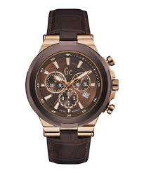 Gc Structura Brown & <b>Rose Gold</b> Case Brown <b>Leather Mens</b> Watch ...
