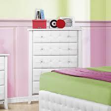 piece emmaline upholstered panel bedroom: homelegance sparkle  piece upholstered platform kids bedroom set in white