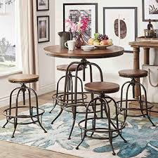 dining room pub style sets: tribecca home berwick industrial style round counter height pub adjustable dining set