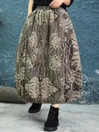 vintage <b>women floral print autumn winter</b> baggy skirts at Banggood