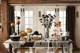 Flower Arrangements For Dining Room Table Halloween Flower Arrangement Ideas With White Tablecloth In