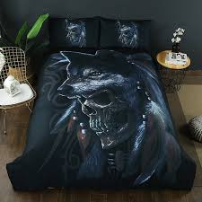 <b>Gothic Skull</b> Duvet Cover Pillowcase King Queen Twin Full Bedding ...
