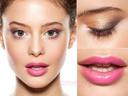 70s style makeup with pink lips 39