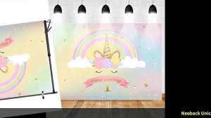 <b>Neoback Unicorn</b> Rainbow Photography <b>Backdrops</b> Happy 1st ...