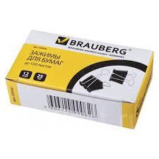 <b>Зажимы</b> для бумаг <b>Brauberg</b>, комплект <b>12 шт</b>., 25 мм, на 100 л ...