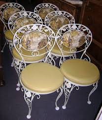awesome white iron modern design antique wrought chairs beige seat house shape carving leaf interior at antique chair styles furniture e2