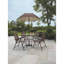 patio table and 6 chairs: mainstays sand dune  piece folding patio dining set with umbrella seats  walmartcom