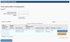 employer portal user guide image of the employment queue screen as described below