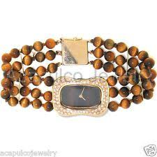 BAUME & MERCIER GENEVE 14K Gold & Tiger Eye Band Ladies ...