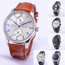 <b>43mm PARNIS</b> Automatic Watch PVD Case <b>Black Dial</b> Seagull 2551 ...