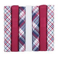 7 Pack <b>Mens Handkerchiefs</b> Red Blue and White Coloured Plain ...