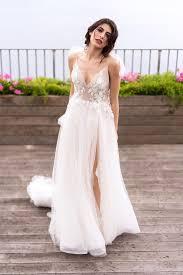 <b>V</b>-<b>Neck Spaghetti Strap</b> A-Line Wedding Dress With Floral Appliques